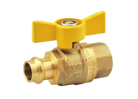 PRESS FIT GAS BUTTERFLY BALL VALVE FEMALE/COPPER