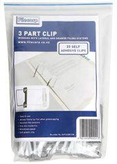FILECORP EZI-CLIP 3 PART CLIP PKT/20