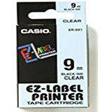 CASIO LABELLING TAPE 9MM BLACK/CLEAR XR9