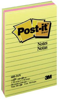 POST IT NOTE 660-3AN CAPETOWN LINED PK3