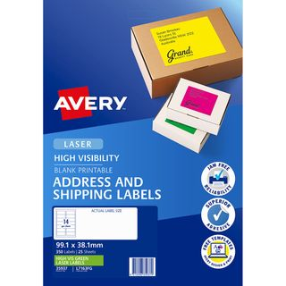 AVERY FLUORO LABELS L7163FG 14 UP GREEN
