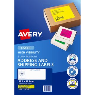 AVERY FLUORO LABELS L7163FY 14 UP YELLOW