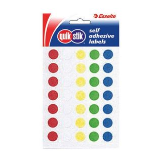 CIRCLE LABEL QUIK STIK 14MM ASSORTED