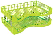 BIC LETTER/DOCUMENT TRAYS ACID GREEN PK2
