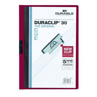 DURABLE DURACLIP FILE A4 BURGUNDY 30 SH