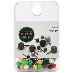 DIXON MAP PINS ASST COLOURS PKT50 SMALL