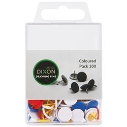 DIXON DRAWING PINS COLOURED PACK 100
