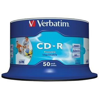 VERBATIM CD-R 700MB WHITE INKJET 50 PACK