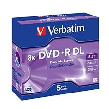 VERBATIM DVD+R DUAL LAYER 8X 8.5GB 5PK