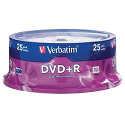 VERBATIM DVD+R 4.7GB 16X SPINDLE PKT/25