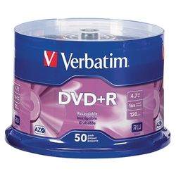 VERBATIM DVD+R 4.7GB 16X SPINDLE PKT/50