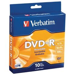 VERBATIM DVD-R 4.7GB 16X SPINDLE PKT 10