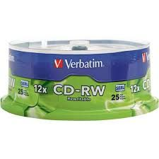 VERBATIM CD-RW 700MB 4X-12X SPINDLE 25