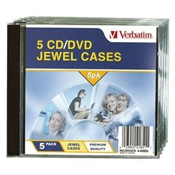 CD/DVD JEWEL CASES VERBATIM PKT/5
