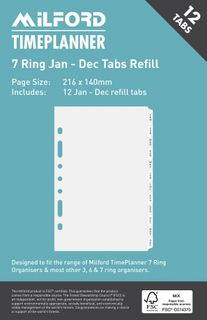ORGANISER REFILL 7 RING JAN-DEC TABS