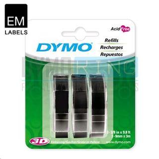 DYMO TAPEWRITER EMBOSSING LABELS BLACK