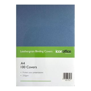 BINDING COVERS ICON LEATHERGRAIN NAVY A4