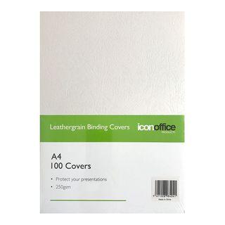 BINDING COVERS ICON LEATHERGRAIN WHITE