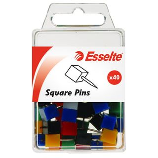 ESSELTE SQUARE PINS ASSORTED PK40