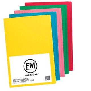 FILE FOLDER ASSORTED COLOURS FCAP PKT/50