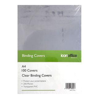 BINDING COVERS ICON CLEAR A4 200M PKT100