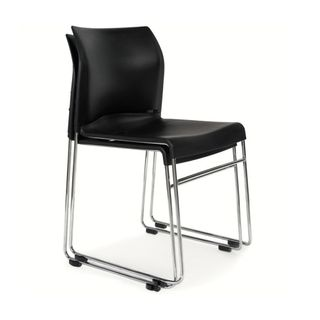 VISITOR CHAIR BURO ENVY BLACK SKID BASE
