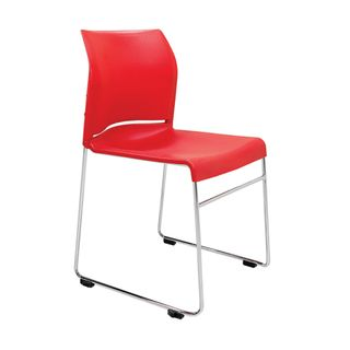 VISITOR CHAIR BURO ENVY RED SKID BASE CH