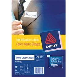 FABRIC NAME BADGE LABEL AVERY L7418 WHIT
