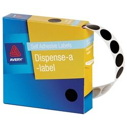 AVERY CIRCLE LABEL BLACK 14MM PK1050