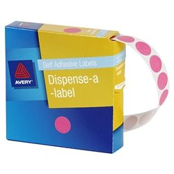 AVERY CIRCLE LABEL PINK 14MM PK1050