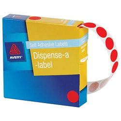 AVERY CIRCLE LABEL RED 14MM PK1050