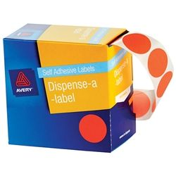 AVERY CIRCLE LABEL ORANGE 24MM PK500