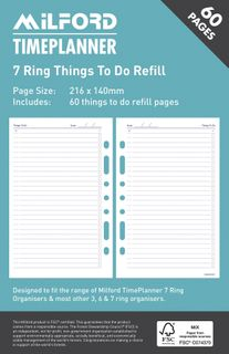 MILFORD ORGANISER REFILL 7 RING THINGS