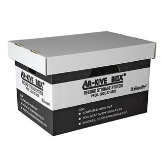 ESSELTE ARCHIVE BOX WITH LID BLACK/WHITE