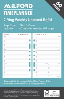 ORGANISER REFILL 7 RING UNDATED WEEKLY