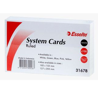 "ESSELTE SYSTEM CARDS  RULED 5x3"" PKT100"