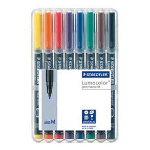 LUMOCOLOR 317 PEN PERMANENT MEDIUM SET/8