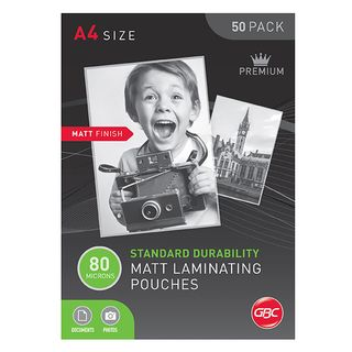 LAMINATING POUCH GBC A4 80MU MATT PK50