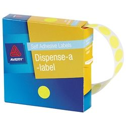 AVERY CIRCLE LABEL FLURO YELLOW 14MM