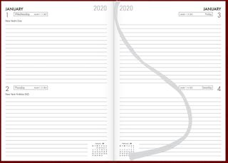 COLLINS DIARY A52 RED EVEN YEAR