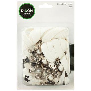 DIXON LANYARD FLAT WHITE PKT/10