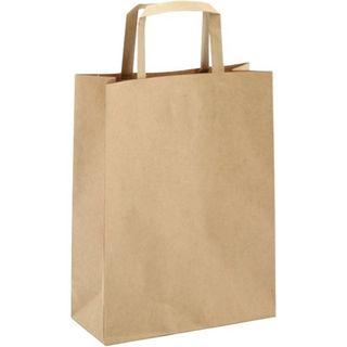 FLAT HANDLE KRAFT PAPER CARRY BAG #40