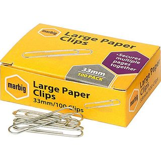 MARBIG PAPER CLIPS 33MM LARGE BX/100