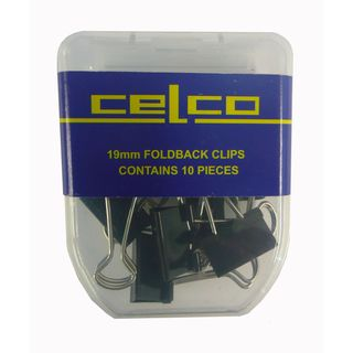 CELCO FOLD BACK CLIPS 19MM 10/PKT
