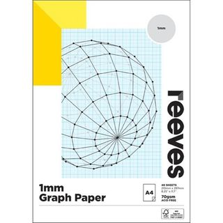 REEVES GRAPH PAPER PAD A4 1MM QUAD
