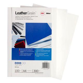 BINDING COVERS A4 LEATHERGRAIN WHITE