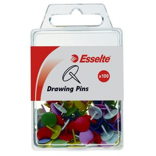 ESSELTE DRAWING PINS ASSORTED PKT/100