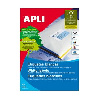 APLI  LASER LABELS A4 WHITE 01281 1 UP