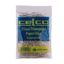 CELCO PAPER CLIPS TRIANGLE SILVER 31MM