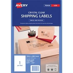 AVERY CLEAR ADDRESS LABEL L7567 1UP PK25